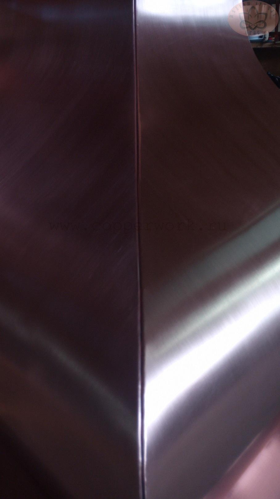 Соединение плоскостей медной вытяжки