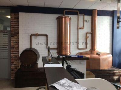 Установка декоративной медной пивоварни
